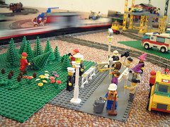 Eco protesters against the felling of Lego Forest (stevenbrandist) Tags: city lego protest police cctv minifig legotrain 9v