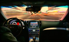 Fast & Furious (Lazyousuf) Tags: new york longexposure car driving infinity sony fast racing motionblur timessquare 2008 coupe explore121 furious sportscar digest fastandfurious explored g37 a350 330hp 2008infinityg37s