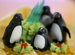 Little Known Fact - Penguins Love Wasabi (Amanda SG) Tags: red food white black green yellow austin toys penguins texas dof bokeh carl penn sue wasabi playmobil northlamar gwenn koreagarden