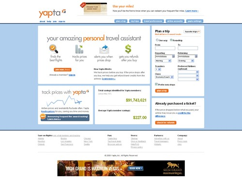 Yapta - Track Airline Flight Ticket Prices and Airfares, Save Money!