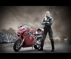 Lady & the Triple nine (Nina_999) Tags: finland motorcycle ducati 999 reflectyourworld