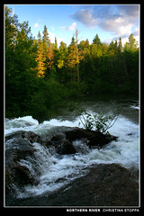 Northern River (Kurokami) Tags: life park new camping wild camp ontario canada fall water rain creek river out gold waterfall check bush pics hiking wildlife north canadian hike chick pot killarney wilderness northern province natures whack provincial whacking 150mm bushwhack bushwhacking chickanishing