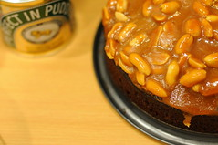 Caramel Peanut-topped Brownie Cake