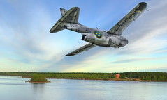 J29 Flyby (Wiking66) Tags: old water museum photoshop river pentax aircraft military swedish aeroplane airforce tre saab hdr pp topaz adjust flygplan smrgsbord cs4 kronor lule f21 norrbotten j29 flygvapnet tunnan k10d pentaxk10d aplusphoto k20d flygflottilj norrbottenwing