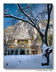 The Ahwahnee Hotel (Tony Immoos) Tags: california blue winter snow tree sunshine rock landscape nationalpark landmark olympus potd yosemite historical yosemitenationalpark e3 sierranevada daytrip yosemitevalley ahwahnee yosemiteblog californialandscape zd yosemiteblogcom 1260mm olympuse3
