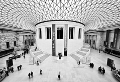 At The British Museum (Philipp Klinger Photography) Tags: new old uk roof england people bw white black london window glass lines museum architecture modern stairs court magazine photography blackwhite nikon europa europe arch britain curves great ceiling norman foster british britishmuseum 1001nights sir popular philipp sigma1224mm arcs klinger aplusphoto d700 ostrellina dcdead