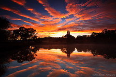 Reflect // Reflect (Matthew Stewart | Photographer) Tags: autumn trees sunset red orange lake reflection tree green water leaves yellow sunrise reflections australia nsw newsouthwales warwick armidale tenterfield gleninnes newenglandhighway