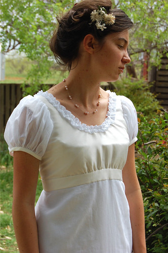 Jane Austen Regency dress in Cream silk and White Cotton Voile