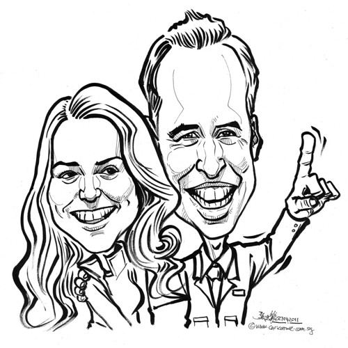 couple wedding caricatures of Prince William and Kate Middleton