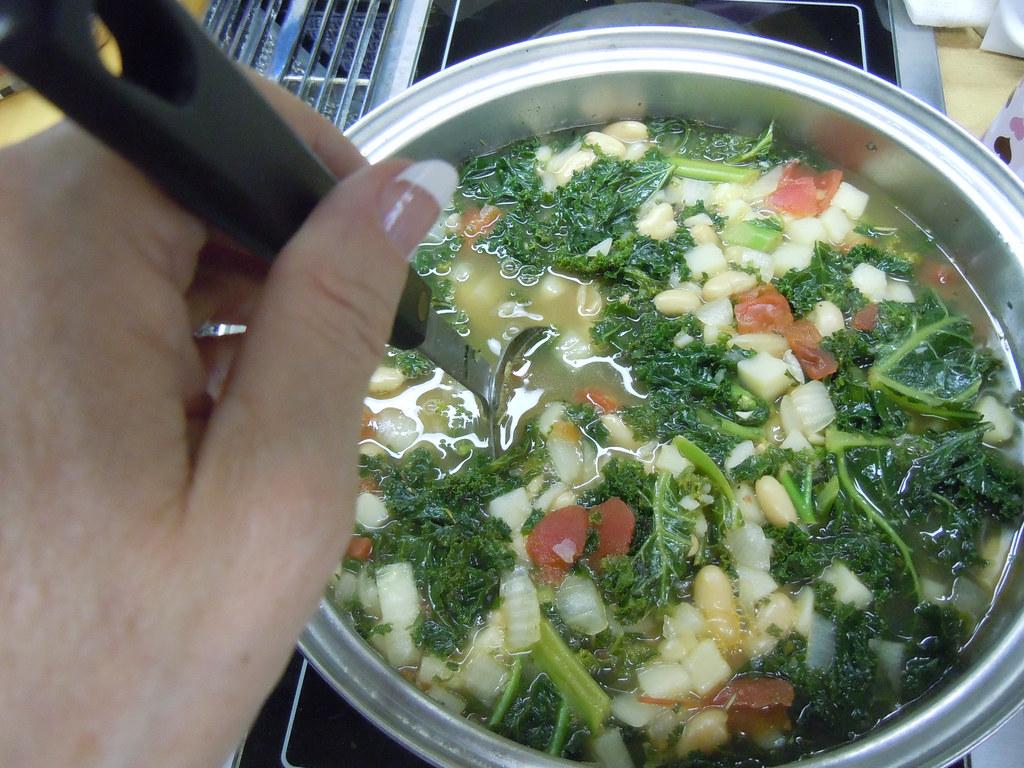 Cooking Vegetarian Kale Soup