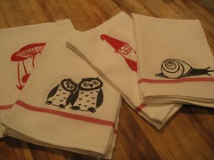 Dishtowels (krakencrafts) Tags: mushroom kitchen gnome screenprint snail owl dishtowel