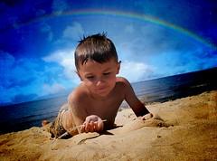 Austin (lgperspectives) Tags: boy summer sun texture beach water clouds swimming austin rainbow sand july sunny overlay lakemichigan grandhaven diamondclassphotographer flickrdiamond goldstaraward rubyphotographer