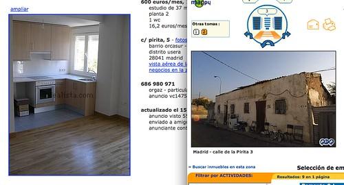 idealista.com y mappy mostrando una chabola en lugar de un piso de nueva obra