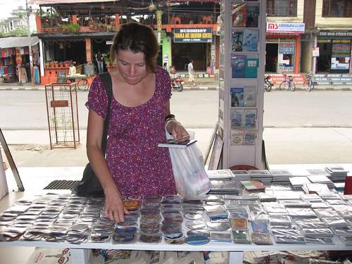 Gela's pre-trek souvenir magnet shopping