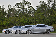 3 Mercedes CLS 63's (ZackHughesPhotography) Tags: 3 beautiful silver photography mercedes three nikon shot florida group fast 63 28 jupiter zack rims motorsports complex luxury 70200 hughes cls d300 moroso