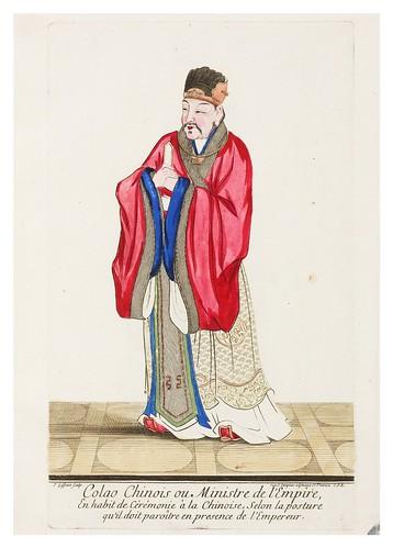 Ministro del Imperio en ropa de ceremonia con la postura de presentacion ante el emperador