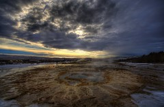 The Quiet Geyser (Stuck in Customs) Tags: lighting light sky panorama hot texture nature clouds reflections landscape photography volcano iceland amazing scary nikon perfect warm mood quiet photographer earth details horizon d2x perspective dramatic ufo horror pro portfolio tones geothermal geysir hdr circular icelandic phenomenon judgementday stuckincustoms treyratcliff