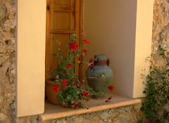 a windowsill in Valdemossa (Hazy Days) Tags: urn vase geranium mallorca windowsill valdemossa blueribbonwinner