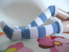 Grey blue stripes socks