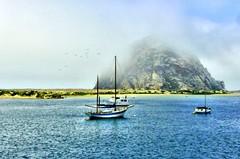 Morro Bay and the Rock (Mine Beyaz) Tags: ocean california sea rock boat view fourseasons morrobay deniz mavi kaya tekne golddragon abigfave betterthangood minebeyaz poseidonsdance águasdivinas