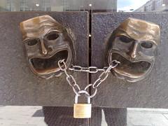 No Talking (whatleydude) Tags: shozu geotagged interesting faces locked doorhandles padlocked geo:lon=013146 geo:lat=5151155