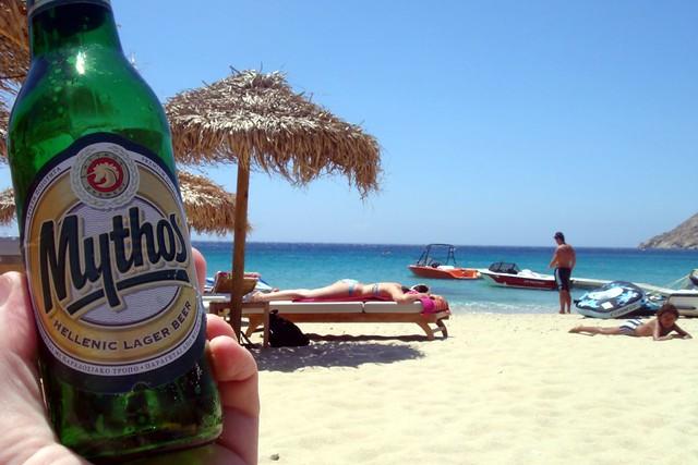 traveling beer; Greek beach