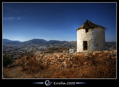 Windmill, Bodrum - Turkey (Erroba) Tags: city blue sky windmill photoshop canon turkey rebel decay tripod trkiye turkiye sigma hills explore trkei tips remote 1020mm polarizer erlend frontpage destroyed hdr turkije turquia bodrum tyrkiet turchia cs3 turkki bodrumbodrum turkiet mugla 3xp tyrkia photomatix mula magnificence tonemapped tonemapping xti tyrkland halikarnasos 400d theperfectphotographer erroba robaye erlendrobaye vosplusbellesphotos