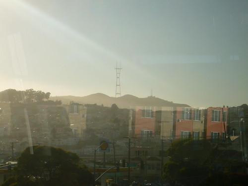 Sutro Tower through the glass