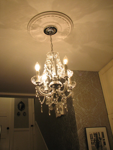 laundry room chandelier by saucy dragonfly.