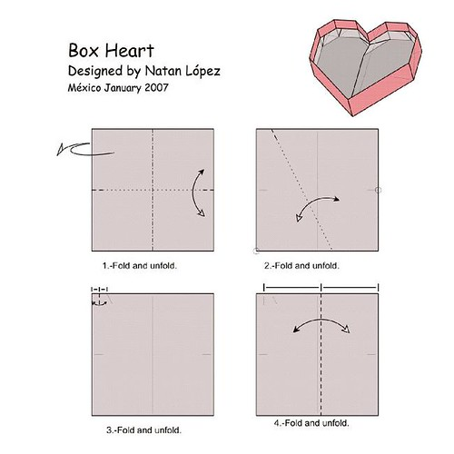 Origami heart diagram - How to make a paper heart box ...