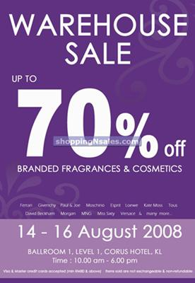 Branded fragrances & cosmetics warehouse sales