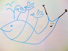 Fail Whale Snail (Neil Crosby) Tags: london sketch yahoo drawing cartoon doodle fail twitter failwhale failsnail