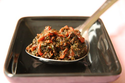 Greens: Cooked red chard