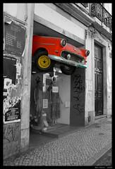 Lost Car (Ben Heine) Tags: show street city red newyork money art broken car yellow fun lost photography marketing fly klein magasin traffic crash p
