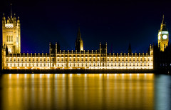 Houses of Parliament (Liamatom) Tags: blue england london yellow architecture buildings housesofparliament bigben