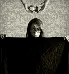 Phronemophobia (JenniPenni) Tags: bw selfportrait glasses hands fear trouble 365 rubikscube phobia overtheexcellence phronemophobia theblacksheet fearofthinking thefrighteningthought