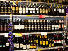 Supermarket wine shelves UK