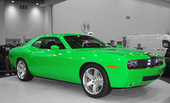 Slime Green Challenger (wsilver) Tags: auto show bw white black canon flickr creative commons grand rapids creativecommons dodge challenger