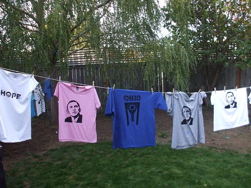 Clothesline of screened shirts