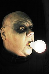 #216. Uncle Fester! (hawhawjames) Tags: family light selfportrait art face bulb painting facepainting paint artist adams body uncle bald makeup fudge bodypaint spooky bodypainting 365 facepaint 1001nights fester kooky adamsfamily 365days ookie