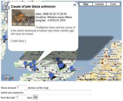 ITN news Google maps mashup