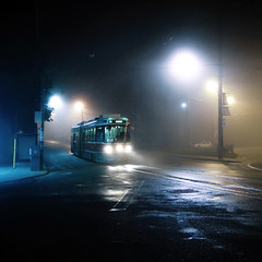 midnight tram to humber (uwajedi) Tags: street city light urban toronto ontario canada wet public rain fog night square photo metro ttc contest tram route transit destination theloop streetcar vote idle challenge humber 501 thebeaches queenstreeteast fogography bigx nevillepark