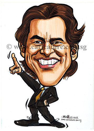 Celebrity caricatures - Jim Carrey colour watermark