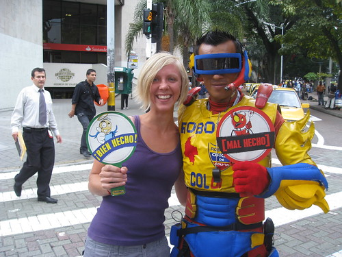 Bessie + Robo Street Safety Guy in Medellin, Colombia