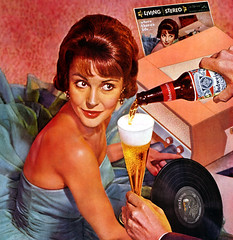 Budweiser Beer 1960 (MsBlueSky) Tags: woman beer vintage drink ad retro advertisement record 1960s budweiser 1960