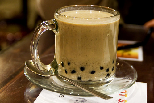 my favorite hot black sesame bubble milk tea