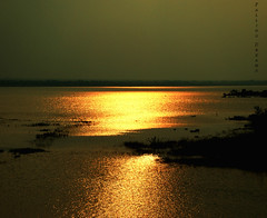 I am shining like Gold (Falling Dreams) Tags: sunset india lake dam hyderabad shining osmansagar