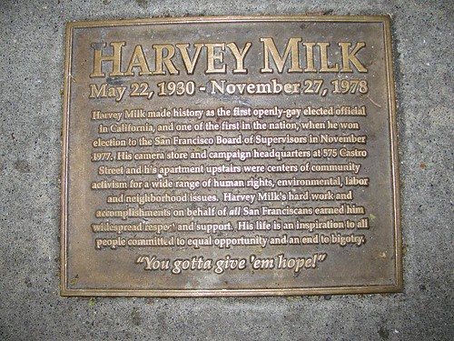 harvey milk plaque outside site of his camera store
