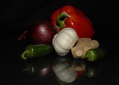 _DSC2276w (Adrian Royle) Tags: stilllife food macro cooking vegetables ginger nikon chili garlic onion d200 redpepper stirfry cls internationalfood sbr200