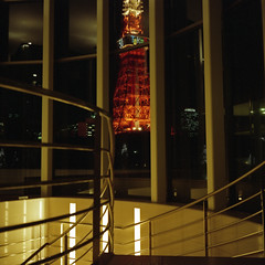to the wedding hall (F_blue) Tags: spiral staircase tokyotower 東京タワー fujicolor newmamiya6 pro800 fblue2008